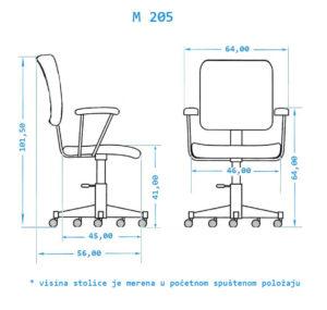 Dimenzije kancelarijske stolice M205