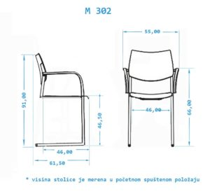 Fotelja konferencijska M302