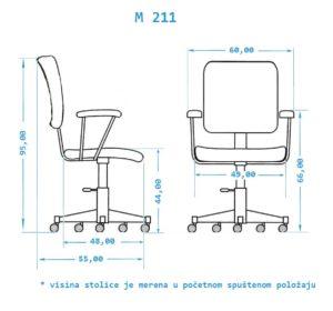 Radna stolica dimenzije M211