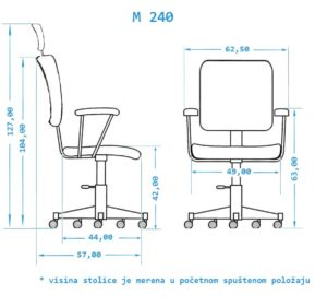Radna stolica dimenzije M240