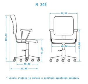 Radna stolica za racunar dimenzije M245