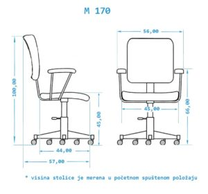 Stolica za racunar M170 -Dimenzije